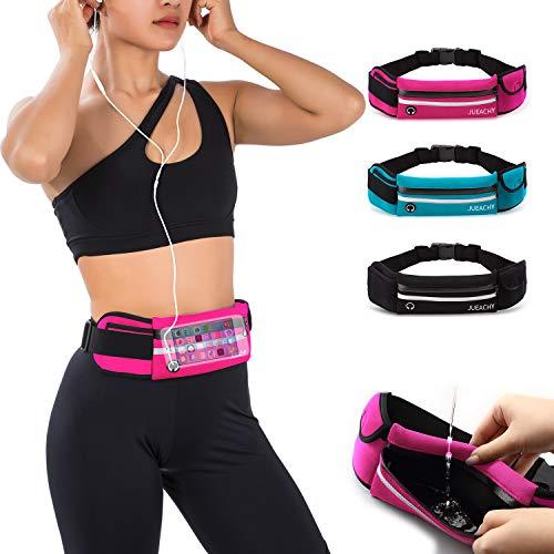Jueachy Running Belt for Man Women, Fanny Pack Running Waterproof Waist Pouch Phone Holder Adjustable Workout Pack with Headphone Port
