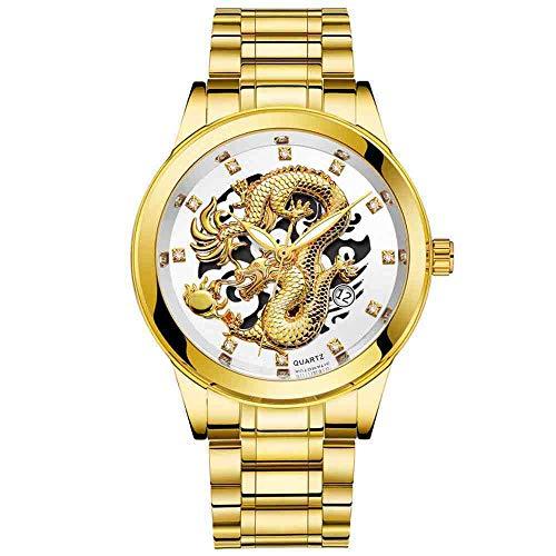 OLUYNG Reloj de Pulsera Reloj HombreImpermeable Gold Dragon Sculpture Relojes de Cuarzo Reloj de Pulsera de Acero, Blanco