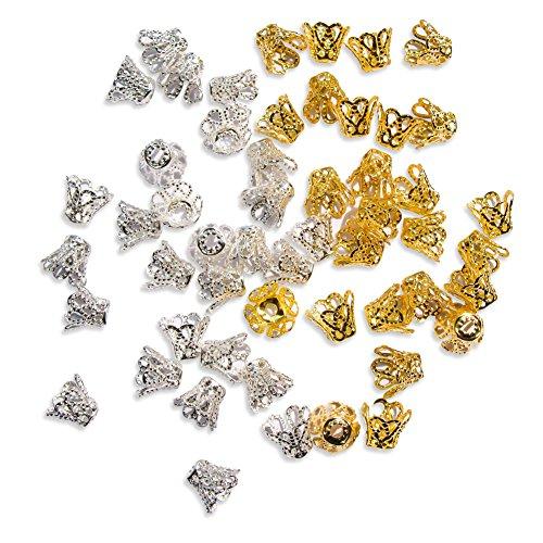 toaob, 600Stück Filigran Blume geformte Schale Perlkappen Schmuck Ergebnisse Silber und Gold gemischt Farbe 8x 6,5mm