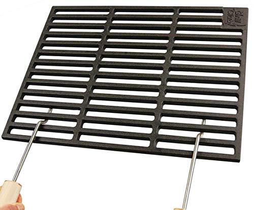 AKTIONA Gusseisen runde + eckige Grillroste viele Größen + Griffe Grillclub® Grill für Weber Gasgrill Holzkohle (50 x 35 cm + 2 Griffe)
