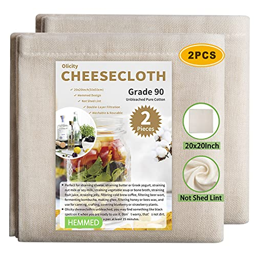 Olicity Cheesecloth, Grade 90, 20x20Inch, Double-Layer 100% Unbleached Pure Cotton Muslin Cloth for Straining, Reusable Hemmed Cheese Cloths Filter Strainer for Cooking, Nut Milk Strain - 2 Pieces