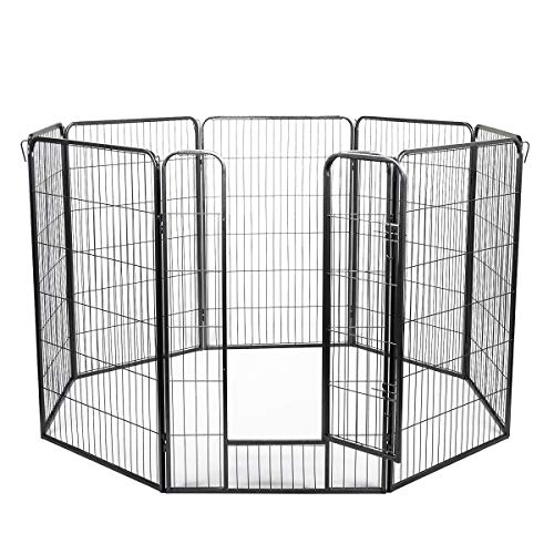 "JAXPETY 8-Panel Heavy Duty Folding Metal Exercise Pens Pet Playpen, 48""H Dog Fences Puppy Gate with Latch Door for Large Dogs Pets Barrier Kennel Indoor Outdoor"