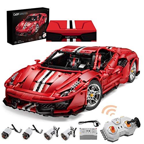 KEAYO Coche deportivo de técnica para Ferrari 488, CADA C61043w, con mando a distancia, motor e iluminación LED, compatible con la técnica Lego