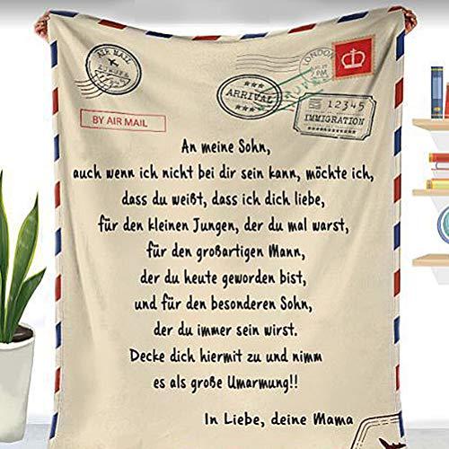 shenruifa Personalisierte Fleecedecke An Meine Sohn Brief Gedruckt Quilts Luftpost Flanell Wolle Decke Papa Mutter Ermutigen Und Lieben für Söhne Flanell Decken Weihnachten Geschenk, Deutsche