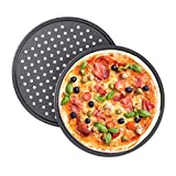 Relaxdays Teglia per Pizza, Set da 2, Rotonda, Forata, Antiaderente, per Crostate, Acciaio al Carbonio, ∅ 32 cm, Grigio