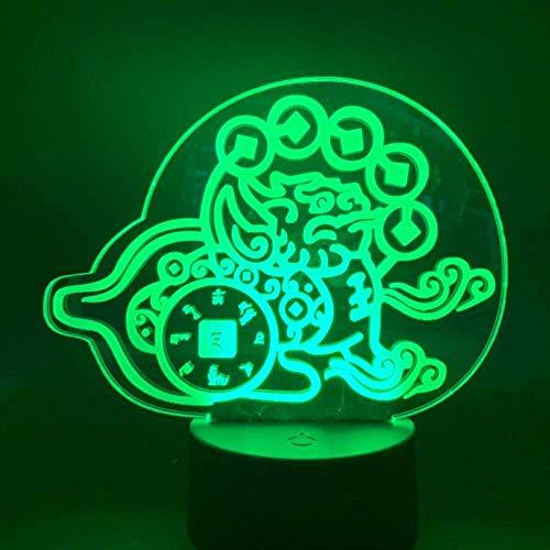 Led nachtlampje Chinese hybride creatie geld krachtige beschermer dier woonkamer decoratieve lamp 3D