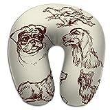 Almohada en Forma de U de Espuma viscoelástica, Transpirable, Suave, cómodo Conjunto de Perros...