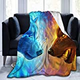 YJWLO EIS- und Feuer-Decke, personalisierbar, leicht, warm, ultraweich, Micro-Fleece, Überwurf für Bett, Couch Stuhl, Wohnzimmer, Ice and Fire Cool Dämonenwolf, 50