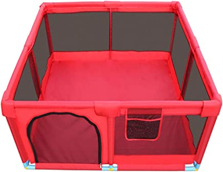 WJSW Kids Activity Centre Baby Playpen Large Play Yard Infant Fence Versatile Washable Oxford Cloth Kids Toy House Red  Size  128x128x66cm  Safety