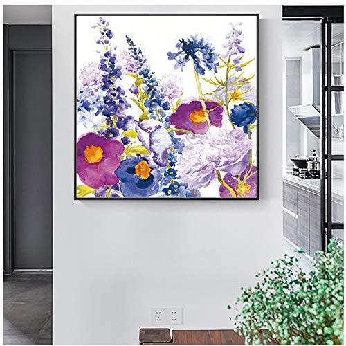 """NIESHUIJING print op canvas abstracte aquarel klaprozen muurkunst schilderijen muurposters en bloemen wanddecoratie 27.5""""x 27.5""""(70x70cm) Geen lijst1"""
