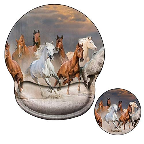 Ergonomic Mouse Pad with Wrist Support No-Slip Gel Mouse Mat Pads with Horse Cute Gaming Computer Mousepads Desk Accessories for Women Men