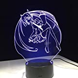 Tianyifengg LED Night Light-3D Vision-Seven Colors-Remote Control-Anime Cartoon Beauty Light Light Change Little Night Light Cool Girl Dormitorio Decoración Regalo Lámpara de Mesa Drop Boat