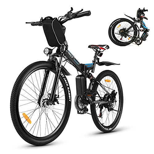 Vivi Bicicletta elettrica da uomo e da donna, 26 pollici, mountain bike da 350 W, 36 V, 10 Ah, batteria al litio e Shimano a 21 marce, colore: nero