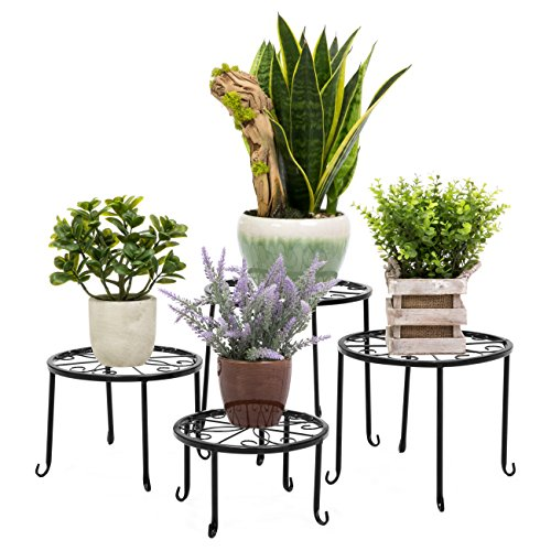 Best Choice Products Set of 4 Indoor Outdoor Metal Nesting Plant Stands, Flower Pot Holder Display Rack for Home & Garden Décor, Black