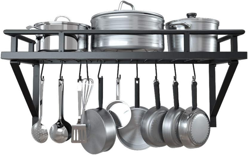 Amazon Brand Umi Kitchen Racks Pot Pan Rack Organiser Wall Shelf With 10 Hooks Metal 24 Inch 625 Mm For Cooking Utensils Wall Mount Matte Black Kur215s60 Bk Amazon Co Uk Home Kitchen
