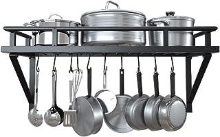 KES Bandeja de Cocina, con 10 Ganchos en Forma de S, Metal, Negro KUR215S60-BK