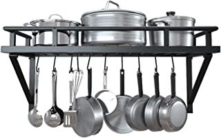 KES 24 Inch Kitchen Wall Mount Pot Pan Rack Wall Shelf With 10 Hooks Matte Black, KUR215S60-BK