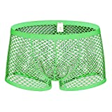 Men's Sexy Mesh Underwear Boxer Shorts Low Waist See-Through Sheer Underpants Breathable Briefs Panties Boxer Briefs Green