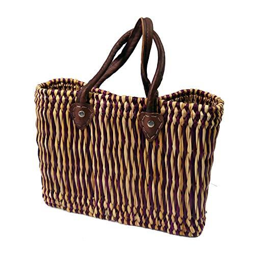 Simandra Seegras Tasche Korb Einkaufstasche Einkaufskorb Flechtkorb Korbtasche Palmgras kurzer Griff klein Color Lila