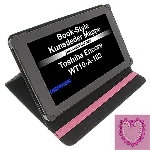 Tasche Strass Herz für Toshiba Encore WT10-A-102 Excite AT10-A-104 Book Style Schutz Hülle Buch pink