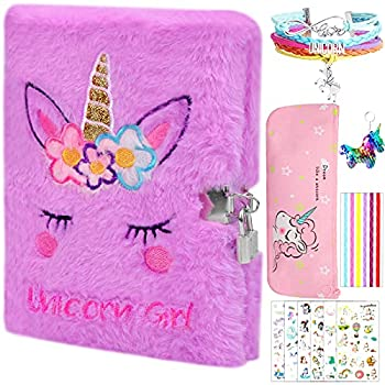 Hicdaw 11Pcs Plush Diary with Lock for Unicorn Journal Set with Notebook Pencil Case Keychain Bracelet and Photo Stickers for Girls Kids Writing and Drawing