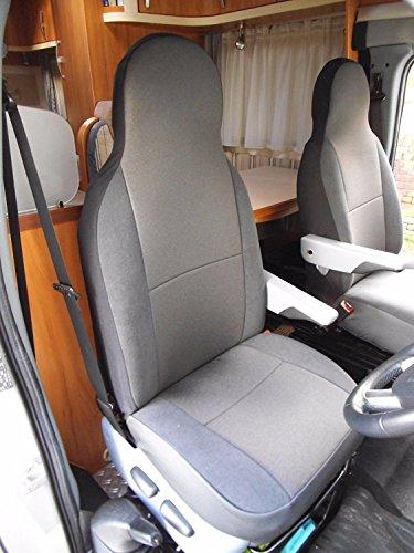 R - Apto para fundas de asiento de coche Fiat Ducato 2001, color gris oscuro
