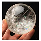Wixine 1Pcs 40mm Rare Clear Natural Rainbow Large Quartz Crystal Sphere Ball Healing Stone