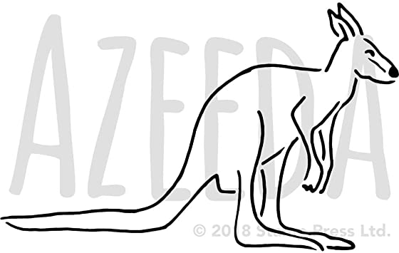 Azeeda Gross A2 Gluckliches Kanguru Wandschablone