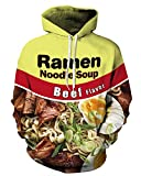 QZUnique Causal Unisex Noodle Beef Flavor Printing Pullover Hoodie Lovers Sports Sweatshirt US M