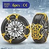 4YANG Cadenas de Nieve Calcetines de Nieve Cadenas de Nieve Antideslizantes 6 Piezas para neumáticos Ancho 165-285 mm Cadenas de neumáticos universales Cadenas de Nieve para neumáticos (Yellow)