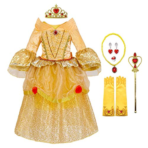 MYRISAM Disfraz de Carnaval Vestidos de Princesa Belle para Nias Traje de Halloween Navidad Cumpleaos Fiesta Ceremonia Aniversario Cosplay Bella y Bestia Costume con Accesorios 3-4