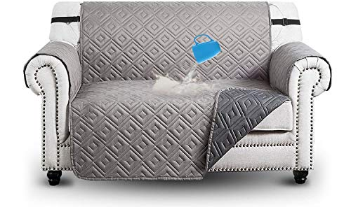 Ameha Sofa Cover 2 seater with Adjustable Straps Waterproof Non Slip Reversible Protector, Dark Grey with Light Grey