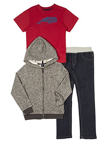 Nautica Baby Boys' Fleece Hoodie, Short Sleeve Tee, and Denim Jean Set, Coal Heather, 18 Months