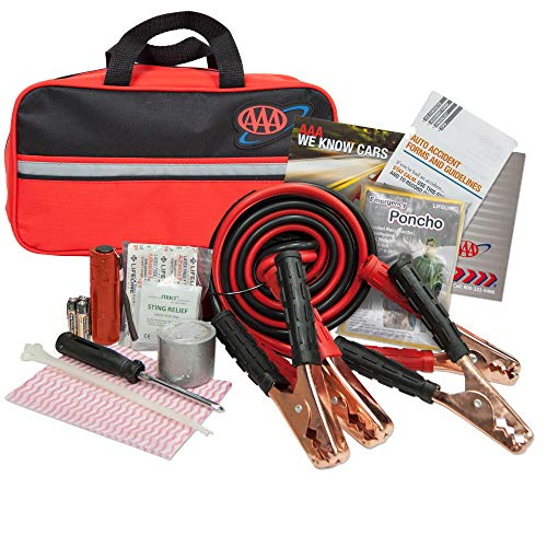 Lifeline 4330AAA Black AAA Premium Road Kit, 42 Piece, Emergency Car Jumper Cables, Flashlight, First Aid Supplies and More