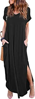 Women's Short Sleeve V Neck Pocket Casual Side Split Beach Long Maxi Dress