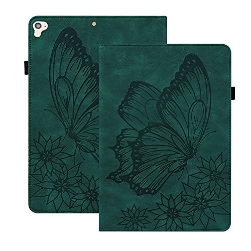 Rosbtib Custodia Compatibile con iPad 9.7 Pollice 2018 6th Gen/ 2017 5th Gen/ iPad Air 2/ Air, PU Pelle Flip Cover con Funzione Stand Rilievo Vintage Farfalla Custodia per iPad 9.7 - Verde