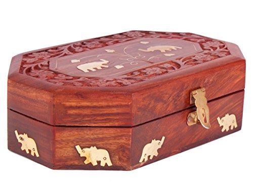 STORE INDYA, Reale intagliati a Mano Contenitore di monili di Legno con Decorazione Mughal Ispirato Elephant & Foglia intarsi in Ottone