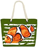 VOID Bolso de Playa XXL Bolsa Shopper pez Payaso 58 x 38 x 16cm 23l Beach Bag, Kissen Farbe:Verde