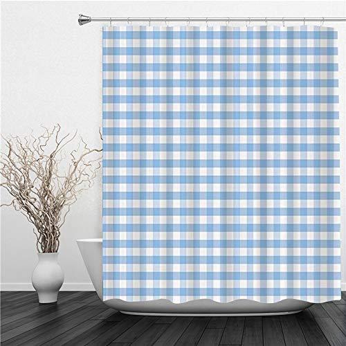 AIMILUX Duschvorhang 180x180cm,Karierte kleine Quadrate & Streifen Pastellfarbe Gingham Wiederholungsreihen Vintage Fliese,Duschvorhang Wasserabweisend-Duschvorhangringen 12 Shower Curtain mit