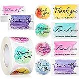 Set de 660 Pegatinas y Tarjetas de Thank You for Supporting My Small Business, Tarjetas de Gracias Pegatinas Etiquetas de Gracias para Negocios en Línea Hechos a Mano (Estilo Acuarela)