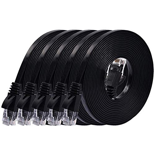 Nrpfell 6 Rollos 3 Metros 98 Pies Cable CAT6 Coaxial UTP Cable Serial RJ45 Puente LAN Cable Negro