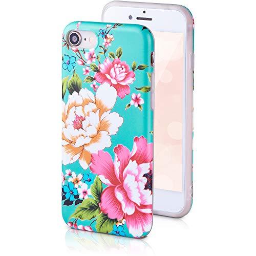 QULT Handyhülle kompatibel mit iPhone 7/8/SE 2020 Hülle Silikon blau iPhone 7/8/SE 2020 dünn matt Slim Hülle Muster Blumen Japanische Pfingstrosen