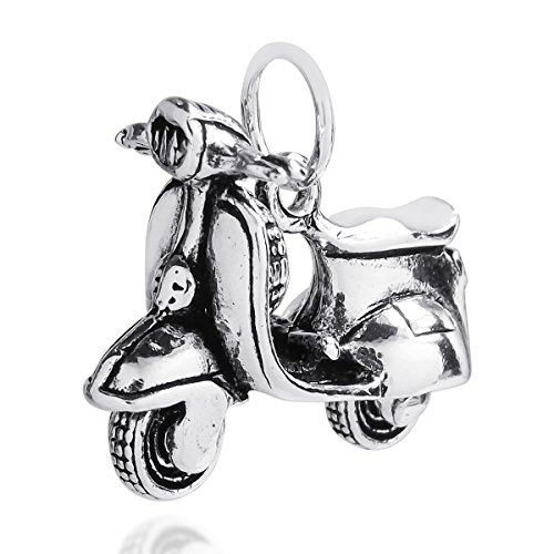 AeraVida Awesome Movable Vespa Scooter .925 Sterling Silver Pendant