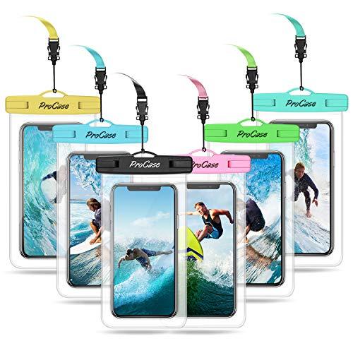 "ProCase 6 uds. Funda Estanca Móvil Universal, Bolsa Impermeable IPX8 para iPhone 11 Pro Max/XS/XR/X/8/7, Galaxy Note10+/S20 Ultra/S10e/S9+, Huawei Xiaomi Redmi Honor BQ hasta 6,9"" -Mixto"