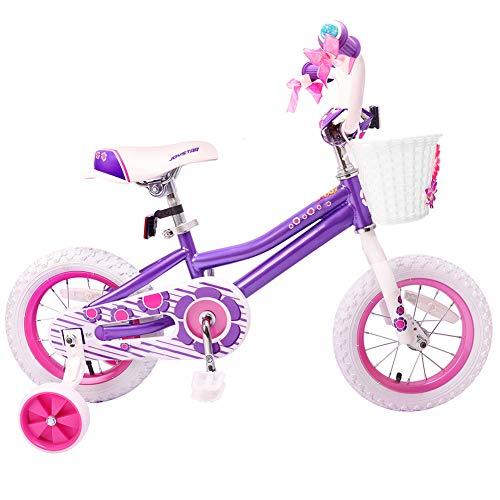 Wisess Bici per Bambina da 14 Pollici, Bicicletta per Bambini da 3 A 6 Anni Ragazzo E Ragazza Cavalcano Giocattoli con Ruote di Allenamento Rimovibili,Viola