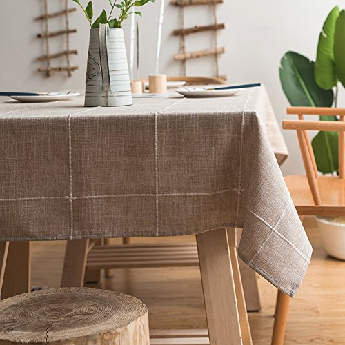 ColorBird Solid Embroidery Lattice Tablecloth Cotton Linen Dust-Proof Checkered Table Cover for Kitchen Dinning Tabletop Decoration (Rectangle/Oblong, 52 x 86 Inch, Linen)