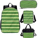 Green - Juego de bolsas escolares para niños, 4 en 1 (43,1 cm), diseño de líneas onduladas