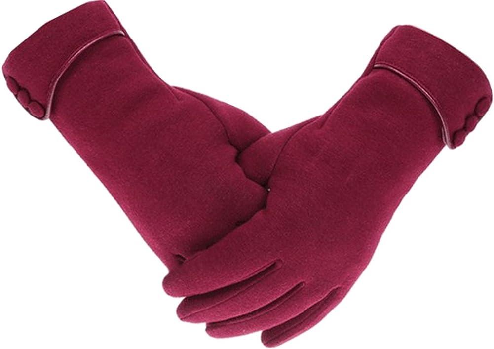 X&F Women's Elegant Velvet Touchscreen Mittens Winter Warm Texting Gloves