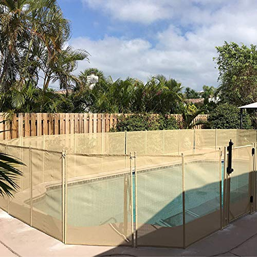 WaterWarden 4' x 12' Pool Fence, Beige – Removeable Outdoor Child Safety Fencing for Inground Pools, Easy DIY Installation with Hardware Included, WWF200B