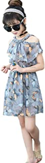 Hopscotch Girls Polyester Butterfly Print Casual Dress in Gray Color